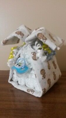 Diaper Cake Stork Bundle Monkey Baby Shower Gift for Boy
