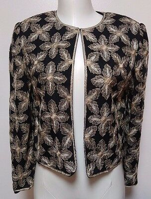 Gold Embroidered Bolero Jacket Vintage 40s 1940s M / L Art Deco Cropped