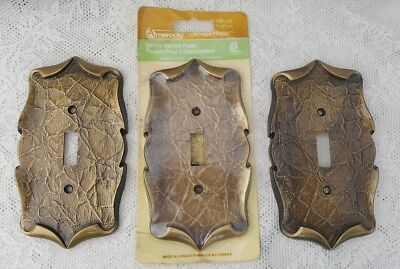 Lot Of 3 Vintage Amerock Carriage House Antique Brass Single Toggle Switch Plate