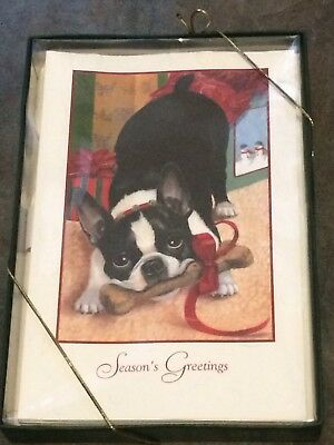 Boston Terrier Embossed Christmas Cards - Box of 16