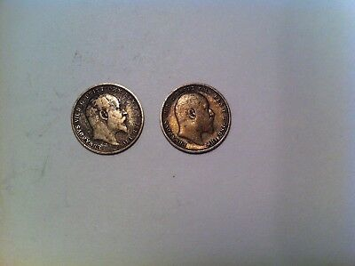 Great Britain 3 Pence Lot, 1902 and 1903, Silver, Mid Grade, British (163)