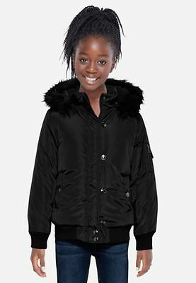 NWT Justice Kid Girls Coat Jacket Faux Fur Hooded Puffer Puff Winter 8/10