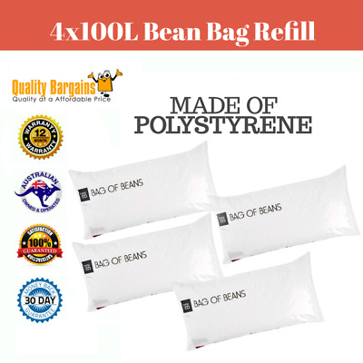 4 x 100 Litre Bean Bag Beads Filler 100L Polystyrene Filling Replacement Chair