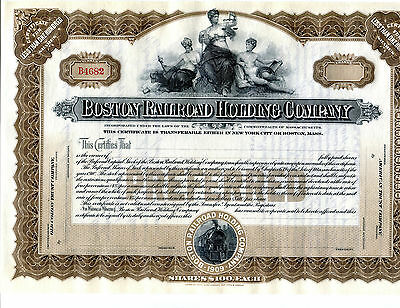 Unissued Boston Railroad Holding Company Stock Certificate