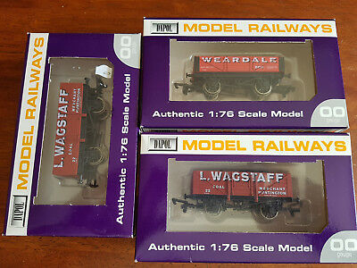 Dapol Open Wagons X 3 Hornby Type Couplers Very Good Cond Boxed Oo Gauge(By)