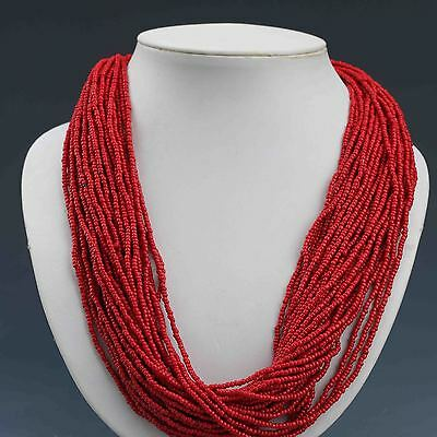 Collectibles Decorated Handwork Tibet Red Coral Necklaces G934