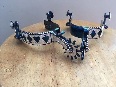 New handmade cowboy spurs Sterling silver inlay  blue fire  finish