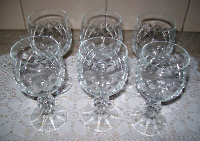 Six Stunning Lead Cut Crystal Wine Glasses - Unbranded - Beautiful Design