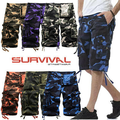 Mens New Cargo Army Camo Shorts 8 Pocket Casual Summer Pants Sizes 30 To 38