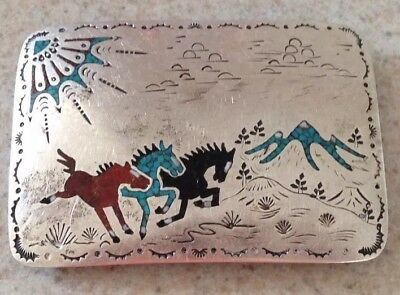 Turquoise and Sterling Silver Belt Buckle Chip Inlay Horses 1970's Signed J.F.