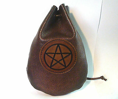 One Only Leather Pentacle Dice Rune Coin Pouch Bag Brown Medieval Sca Larp