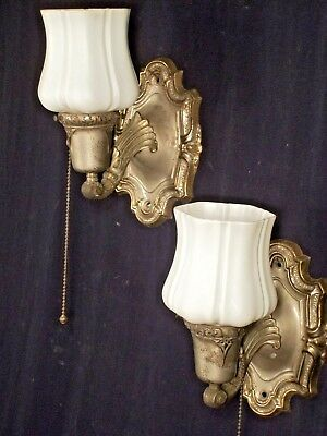 Pair Of Victorian Art Nouveau Rococo Sconces With Milk Glass Shades