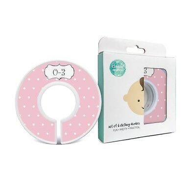 """Baby Closet Dividers, """"Pretty in Pink"""" - Set of 6 Size Organizers"""