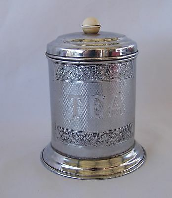 ART DECO  Chrome TEA CADDY Tea Canister Bakelite Knob VGC