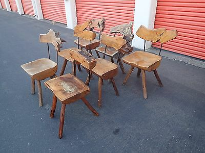 Set of Primitive Slab Iron Mexican Chairs Sabena MidCentury Live Edge Nakashima
