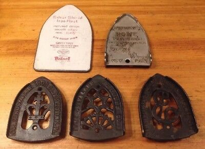 Lot 5 Antique Vintage Sad Iron Stands Trivets Ny Ohio Pa Advertising 4 Cast Iron