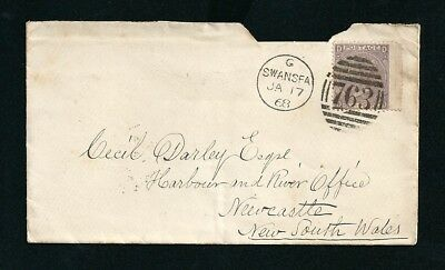 1868 Cover Swansea UK Postmark to Newcastle NSW Australia tied Numeral 763