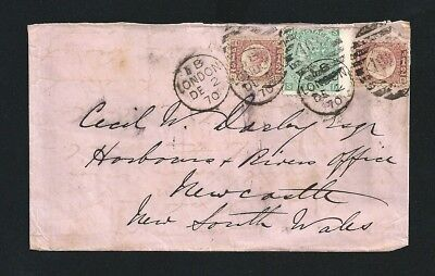 1870 Cover London UK Postmark to Newcastle NSW Australia tied Numeral 103
