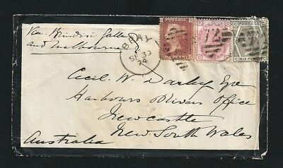 1874 Penny Red Cover Bray UK Postmark to Newcastle NSW Australia tied Numeral 72