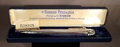 Vintage Ronson Penciliter In Rhodium Plate With Original Box