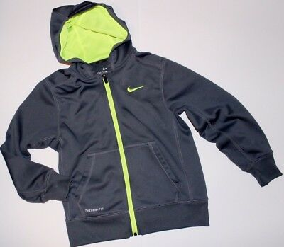 Boys NIKE Therma Fit Hoodie Zippered Jacket Gray Size S Small Kids