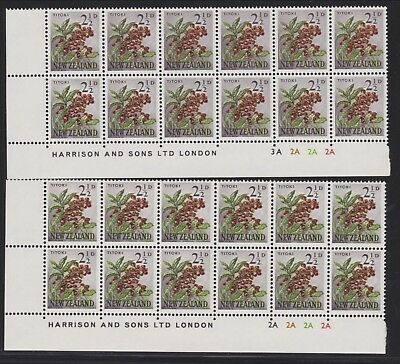 New Zealand 1960 Flowers, 2½d two different Plate blocks UHM. SG784, Scott 336