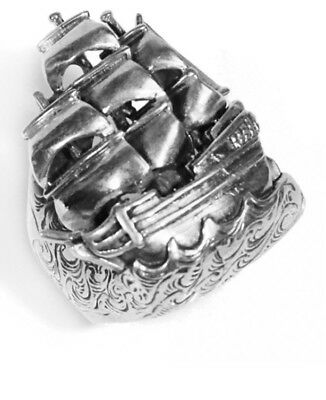 William Llewelyn Griffith Sterling Silver Ship Ring. Designer Jewellery