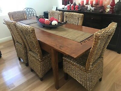 Wooden Extension Table and 6 Cane Chairs