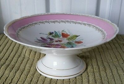Vintage Pottery Cake Stand Plate Floral Pattern