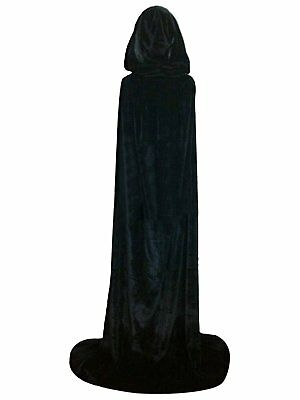Cloak with Hood Costume Hooded Cape Crushed Velvet For Men Women 43 - 66inches