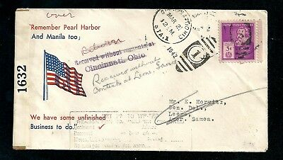 1942 WW2 Cover Cincinnati US to Samoa Received Without Contents Pearl Harbor