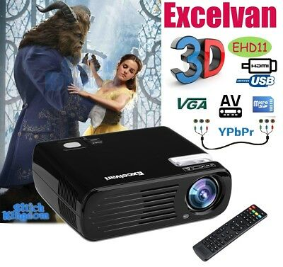 New 4500Lumens HD 1080P 3D Projector Home Cinema HDMI USB VGA TV YPBPR 5000:1 AU