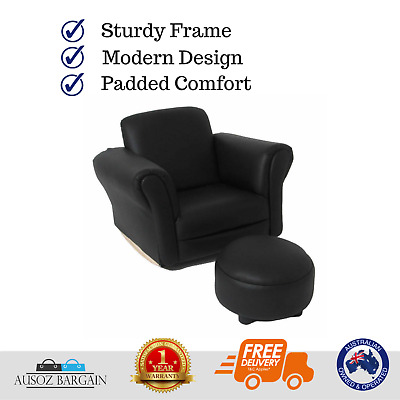 Valco Baby Kiddy Sofa/Kids Couch/Seat w/ Ottoman/Foot Rest Lounge Chair Black