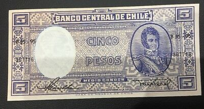 Banco Central De Chile 5 Cinco Note Unc/ Aunc