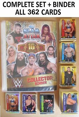 Full Complete Set = 361 Cards + Binder Slam Attax 10 10th Edition Collection WWE
