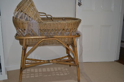 Vintage cane/wicker baby bassinet with stand