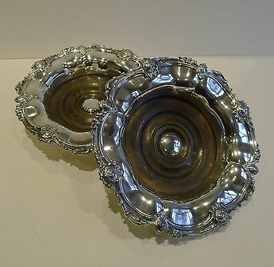 Magnificent Pair Antique English Silver Plated Wine Coasters c.1880