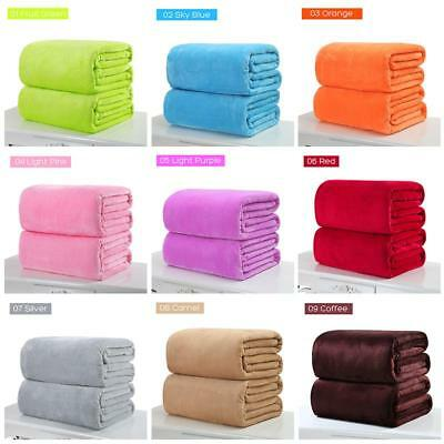 Super Soft Solid Warm Micro Plush Fleece Blanket Throw Rug Sofa Bedding X-mas EB