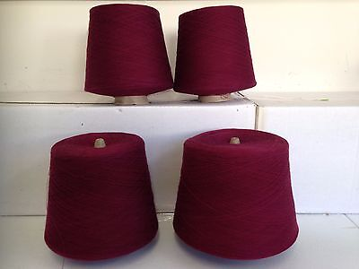 Bulk lot of 100% Cotton machine knitting yarn, MAROON colour, 1 ply, 4.350 kg