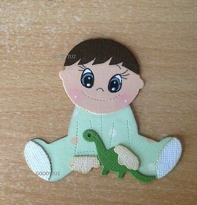 Handcrafted Baby Boy With Dinosaur Die Cuts - Acid Free - Scrapbooking