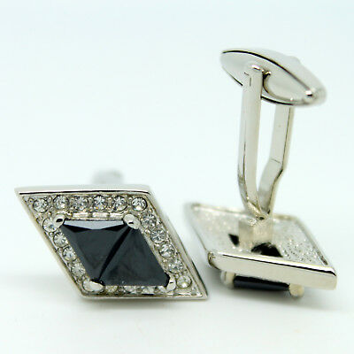 Silver and Black Rhombus Shaped Wedding Cufflinks with Stones