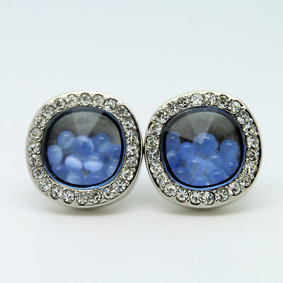 Blue and Silver Circular Wedding Cufflinks with Stones
