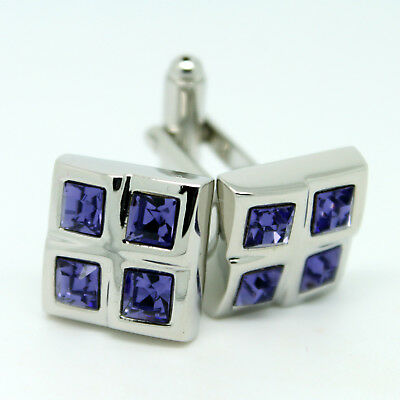 Light Purple/Lilac and Silver Square Wedding Cufflinks with Stones