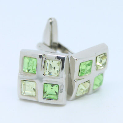 Green, Yellow and Silver Square Wedding Cufflinks with Stones