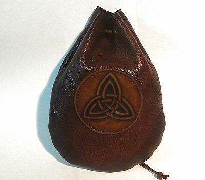 Leather Triquetra Dice Rune Coin Pouch Bag Taller Brown Medieval Sca Larp