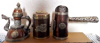 Vintage Copper Metal Dragon Tea / Coffee Pot Set Oriental Vessels (Bb1)