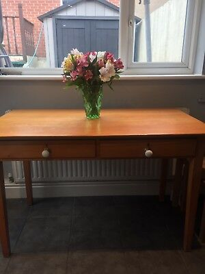 Vintage retro school teachers desk table with 2 drawers