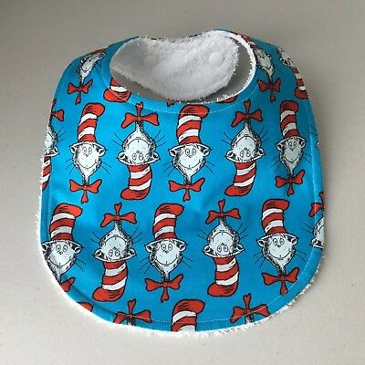 Handmade Baby Bib ~ The Cat In The Hat Print - Dr Seuss