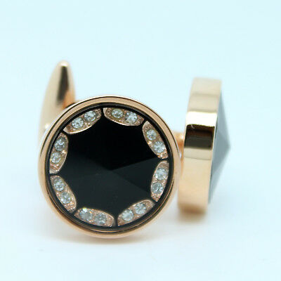 Rose Gold and Black Patterned Circular Wedding Cufflinks with Stones