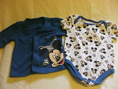 2 Pc Disney Baby Mickey Mouse Blue Top and Romper Set 3-6 Months 100% cotton